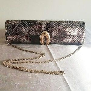 Rodo Bags - Rodo Bronze Snake Skin Clutch